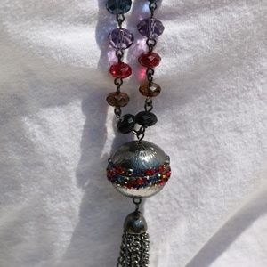 Long Boho MIxed Faux Crystal Necklace Tassel